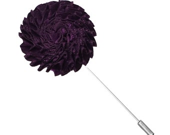 Purple Textured Satin Lapel Flower Pin
