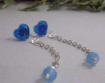 Blue sparkle heart earrings , resin stud earrings , cute heart earrings , stud earring , blue and silver jewelry , heart shaped earrings