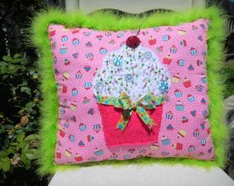 "Cupcake decorative pillow..Pink fabric with felt cupcake...hand sewn beads...16"" x 14"""