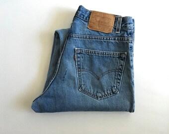 Vintage Men's 80's Levi's 560, Blue Jeans, Loose Fit, Red Tab, Long, Denim (W32x L37)