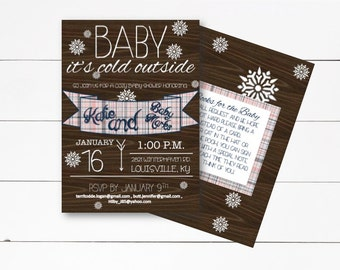 Baby It's Cold Outside Invitation, Winter Baby Shower, Baby Shower, Baby Its Cold Outside, Winter Shower Invitation,  DIY or Printed Invite
