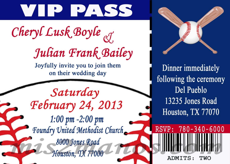 Baseball Wedding Invitation: Baseball Theme Wedding Party Printable Ticket Invitations DIY