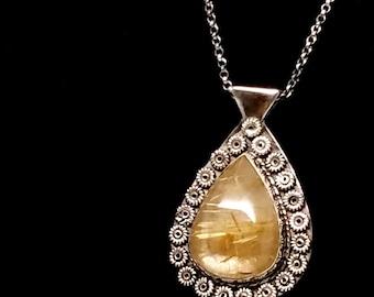 Golden Rutilated Quartz Bezel Set Sterling Silver Pendant on Sterling Chain