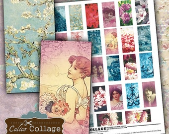Simply Shabby Chic Digital Collage Sheet Domino Tile Images for Wood Tiles, Resin Jewelry, Glass Pendants, Decoupage Paper, Vintage Art