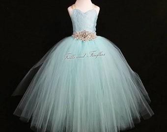 Aqua Lace Flower Girl Dress / Bridesmaid Corset Dress / Prom Dress / Formal Dress / Princess Dress / Simple Wedding Dress / Girls Dresses