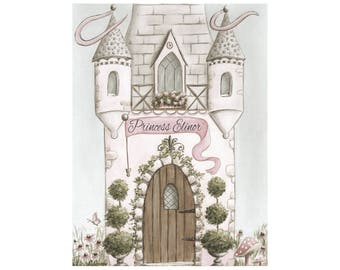 "Princess Castle Nursery Print Personalized With Girls Name, Blush Pink Vintage Shabby Chic Princess Wall Art 6 Sizes, 5 x 7"" to 24 x 36"""
