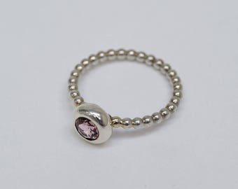 light pink rose quarz ring made of 925/- sterling silver bubbles ball bubbel cute girl boho style