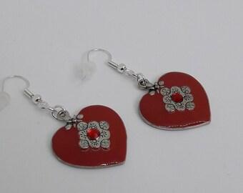 Silver earrings on red enamel - silver dangle heart charm - dangle heart - heart jewelry earrings silver