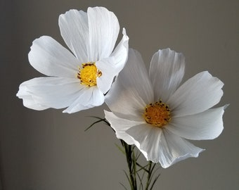 Two White Crepe Paper Cosmos - Crepe Paper Flowers