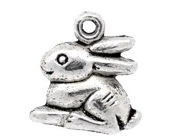 10 Pieces Antique Silver Bunny Charms