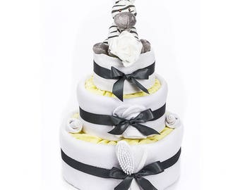 Zigbee Zebra 3 Tier Nappy Cake - Animal Nappy Cakes with Keepsake Capsule - FREE Delivery