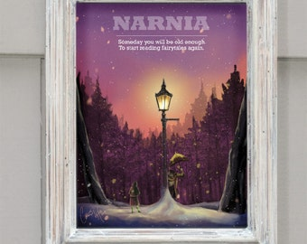 Illustrative NARNIA Poster (With Customizable Text)-- Original art by Connie Wilkerson-Arp on canvas or art paper giclee
