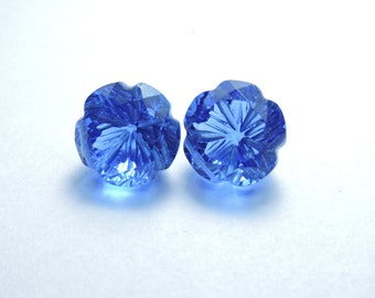 2 Pcs Very Beautiful Tanzanite Quartz Hand Carved Flower Shape Beads Size 13X13 MM