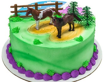Horse 5 piece Cake Kit Cake Toppers Decorations Party 2 horses fence trees