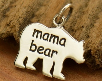 Mama Bear charm or pendant, sterling silver, diy gift for her, make your own necklace, add to your charm bracelet, blank