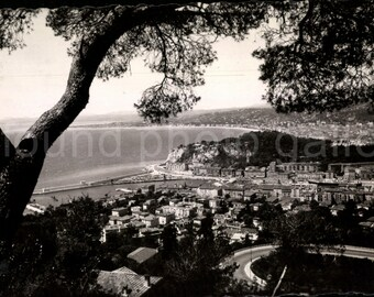 Vintage Postcard, View on Mont Boron, Nice France, Black & White Postcard, Travel Postcard, Vacation Postcard, Ephemera