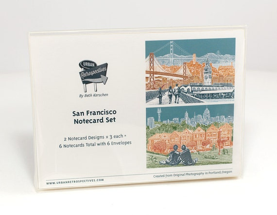 San Francisco Notecard Set - full color - California - 6 folded Greeting Cards - On Sale!!