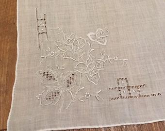 SALE - Elegant Vintage White-on-White Embroidered Ladies Linen Hankerchief