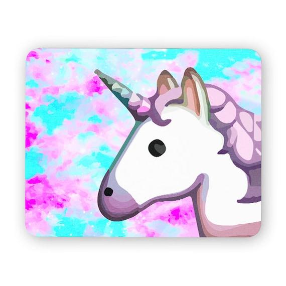 Unicorn Emoji space rainbow mouse pad - mouse mat - desktop mouse mat - funny mouse mat - computer pad 3P005