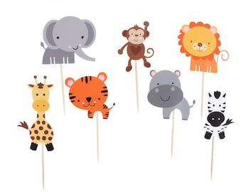 Jungle Animal Cupcake Toppers / Safari Cupcake Toppers / Zoo Animal Cupcake Toppers / Jungle / Safari  / Zoo / Baby Animal Cupcake Toppers