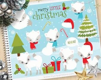 White Christmas Fox, winter clipart, snowflakes, Christmas tree, winter animals, Winter foxes, Commercial Use Vector Clip Art, SVG Cut Files