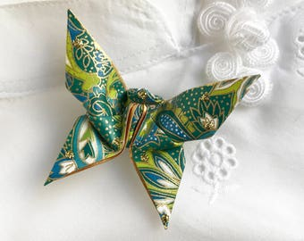 Origami Butterfly Pin (green paisley)