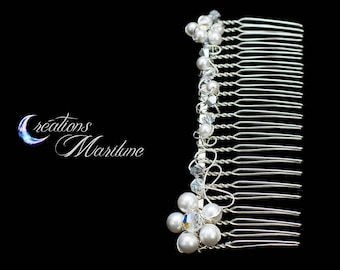 Hair comb, comb, bridal comb, white pearl, Swarovski crystal, Silver, transparent, Wedding, imitation rhodium, hair accessory, flower