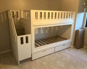 Bunk Bed With Stairs With Storage Drawers. Comes with a 10 year Structural Gaurantee. (please read description for more info)