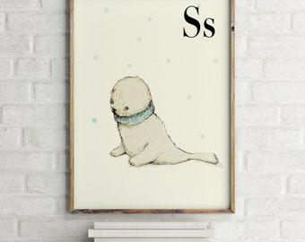Seal print, nursery animal print, alphabet cards animals, alphabet letters, abc letters, alphabet print, animals prints for nursery
