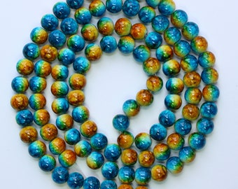 8mm Multi Color Beads Yellow Blue and Orange Glass Rounds 30 inch Strand 100 Beads 1mm Hole Size