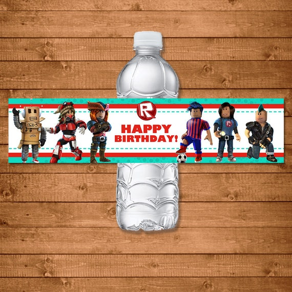 Roblox Drink Label - Roblox Water Bottle Label - Roblox Birthday Party Printables - Roblox Party Favors - Roblox Birthday Drink Wraps
