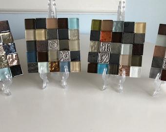 """Glass Tile Coaster Set of 4 """"Ginger"""""""