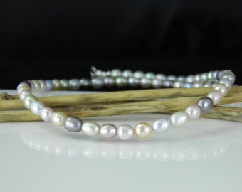 Pastel Pearl Necklace, Classic Pearl Single Strand Necklace - READY TO SHIP