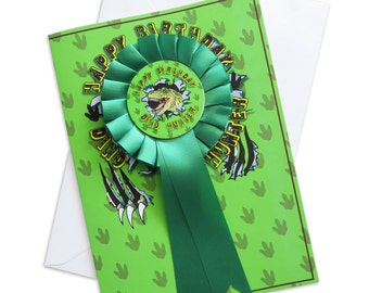 Personalised Dinosaur Happy Birthday Rosette Card