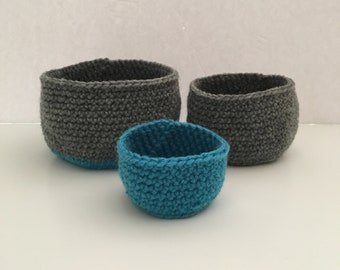 Set of 3 Crochet Nesting Bowls   Handmade Blue and Grey Bowls   Decorative Bowls to Hold Small Trinkets at Home   Crocheted Desk Organizer