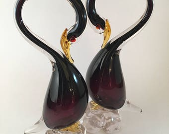 A pair of magnificent Murano Glass swans