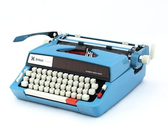 Vintage Typewriter, Blue Typewriter, Manual Typewriter Brillant Super, Office Home Decor, Working Typewriter, Portable Typewriter