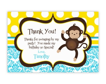 Mod Monkey Thank You Card - Blue Damask and Yellow Polka Dot Boy Mod Monkey Personalized Birthday Party Thank You - a Digital Printable File