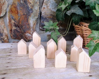 Small wood block houses - Set of 10 wooden houses - Little wooden houses - Wooden village - Unfinished wooden home decor - Rustic home decor