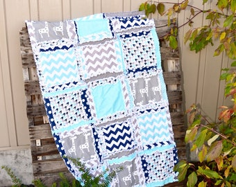 Giraffe Crib Bedding Crib Rag Quilt- Navy/ Turquoise/ Grey Crib Bedding- Jungle Nursery- Safari Crib Bedding- Turquoise Quilt Travel Nursery