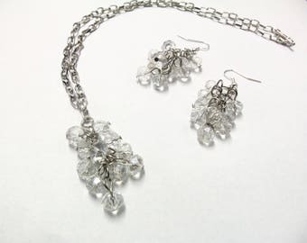 Adornment necklace and earrings clear white grapes