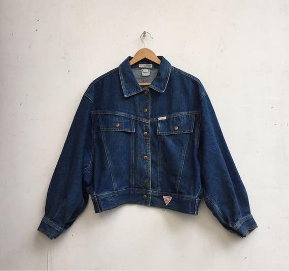 Vintage Retro Men's 80's Guess Jeans Georges Marciano Jean Jacket Indigo Dark Blue Denim Jacket Medium Made in the USA Jj23Fyt