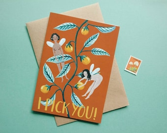 I Pick You Australian Greeting Card / I love you / valentines / anniversary / funny / fairy / recycled / eco