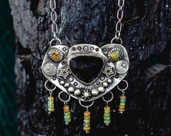 Boho Necklace, Sterling Silver Necklace, Sterling Opal Necklace, Rainbow Obsidian Necklace, Handmade Necklace, Boho necklace, Silver Jewelry