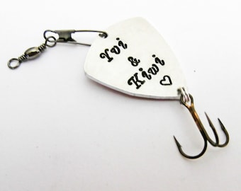 Lovers name personalized fishing lure birthday anniversary for him fish hook engraved for men custom metal fishing accessory fathers day
