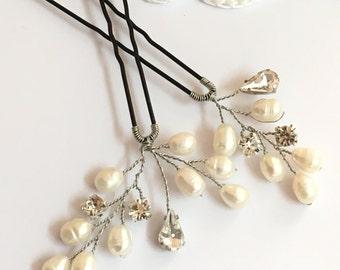 Pearl bridal hair pins x2, wedding hair accessories, crystal hair pins, bridal hair accessories, wedding hair pins, silver hair pins bridal