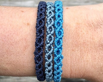 SALE Micro-Macrame Adjustable Bracelet Stack - Blue Mix