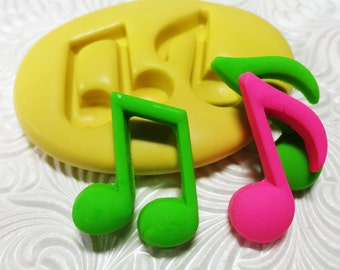 Music Notes Mold Flexible Silicone Rubber Push Mold for Resin Wax FIMO Fondant Royal Icing Chocolate Polymer Clay Metal Clay