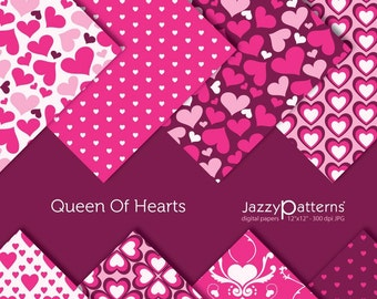 Valentines digital papers pack Queen Of Hearts DP044 instant download