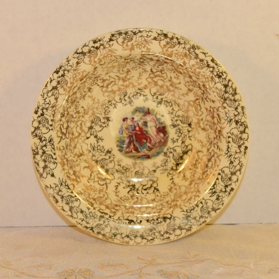 Grecian Warranted 22 Karat Gold Bowl Vintage Gold Filigree Floral Greek Ladies Cameo Decorative Bowl Porcelain Bowl Grecian Women